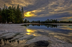 Sunset at Manzanita Lake, Lassen Volcanic National Park Stock Photo