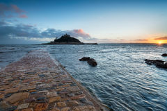 Sunset at Marazion Stock Photography