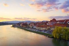 Sunset in Maribor, Slovenia. Maribor, Slovenia, Europe. Popular riverbank Lent by the river Drava. Beautiful sunset scenery royalty free stock photos