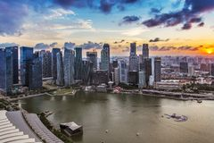 Sunset at Marina Bay, Singapore Stock Photography