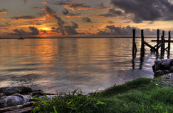 Sunset with piers Fernandina Beach Amelia Island Florida Stock Images