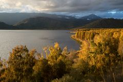 Sunset on Markakol lake, Kazakhstan Royalty Free Stock Photography