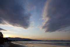 Sunset on Marlborough Sounds New Zealand Stock Photo