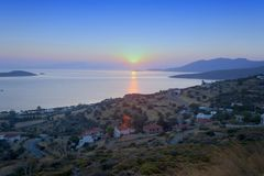 Sunset in Marmari. Sunset as seen from Marmari, Evoia a holiday destination near Athens, Greece Stock Photo