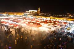 Sunset nicht market in Marrakesh, Morocco Royalty Free Stock Image