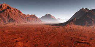 Sunset on Mars, dust obscured Martian landscape. Royalty Free Stock Images
