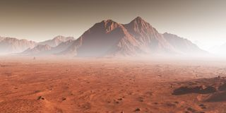Sunset on Mars, dust obscured Martian landscape Royalty Free Stock Images