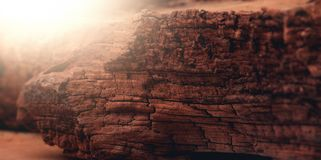 Sunset on the mars lightened rocky surface. Of the planet Royalty Free Stock Photo