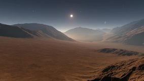 Sunset on Mars. Mars mountains, view from the valley stock video footage