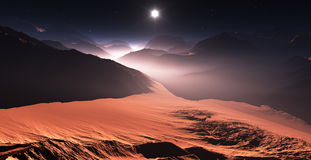 Sunset on Mars. Mars mountains, view from the valley Stock Images