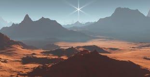 Sunset on Mars. Martian landscape Royalty Free Stock Images