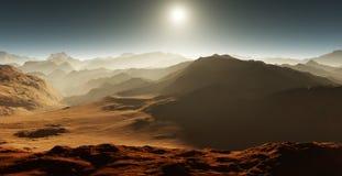 Sunset on Mars. Martian landscape Stock Photo