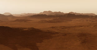 Sunset on Mars. Martian landscape Stock Image