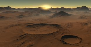 Sunset on Mars. Martian landscape, impact craters on Mars Royalty Free Stock Images
