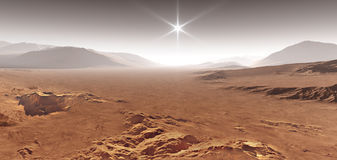 Sunset on Mars. Martian landscape with sand dunes. 3D illustration Royalty Free Stock Image