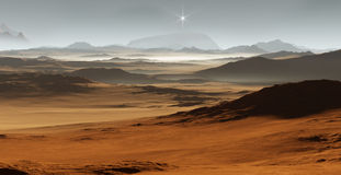 Sunset on Mars. Martian landscape with sand dunes. 3D illustration Stock Image