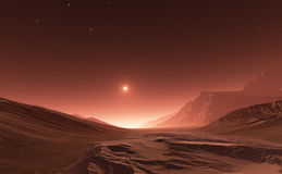 Sunset on Mars. Mars mountains, view from the valley Stock Photos
