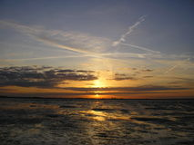 Sunset on beach. Sunset over the wash in Lincolnshire uk Stock Photography