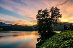 Sunset, Martins Fork Lake, Kentucky. A beautiful sunset reflects on the surface of Martins Fork lake in the Appalachian Mountains of Kentucky Stock Images