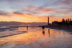Sunset in Maspalomas Stock Images