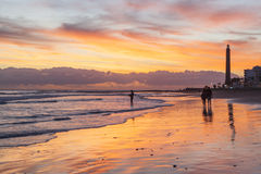 Sunset in Maspalomas Royalty Free Stock Photos