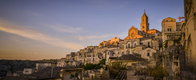 Sunset at matera, italy Stock Images