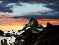 Sunset on the Matterhorn stock photos
