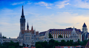 Sunset of  Matthias Church and Fishermans Bastion Royalty Free Stock Photography