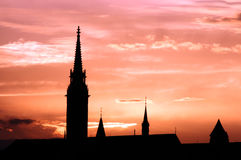 Sunset Matthias church silhouette Budapest Royalty Free Stock Images