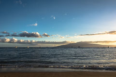 Sunset in Maui, Hawaii Royalty Free Stock Photography