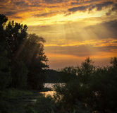 Sunset on the Maumee River Royalty Free Stock Image
