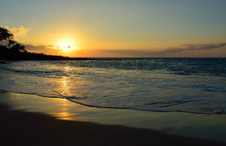 Sunset at Mauna Kea beach Big Island of Hawaii Royalty Free Stock Photography