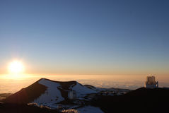 Sunset on Mauna Kea Summit royalty free stock photography