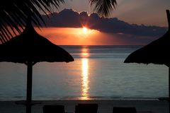 Sunset in Mauritius Stock Photography