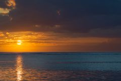 Sunset on Mauritius. Sunset over the Indian Ocean near Le Morne on the west coast of Mauritius, Africa stock images