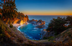 Sunset at McWay Falls, Julia Pfeiffer State Burns  Park Stock Photo