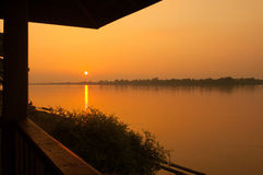 Sunset at meakhong river in Thailand Stock Photography