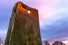 Sunset on medieval Irish Tower Stock Photography