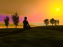 Sunset meditation Royalty Free Stock Photo