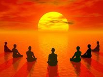 Sunset meditation - 3D render Royalty Free Stock Photo