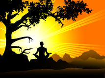 Sunset Meditation. Person meditating in front of a beautiful sunset stock illustration