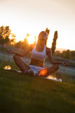Sunset meditation. Stock Photography