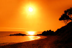 Sunset in mediterranean Beach Royalty Free Stock Images