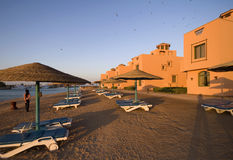 Sunset of mediterranean beach resort. Sunset view of mediterranean beach resort Stock Photo
