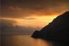 Sunset on the Mediterranean coast of Italy. Liguria. Stock Image