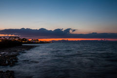 Sunset on the Mediterranean coast Royalty Free Stock Photography