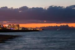 Sunset on the Mediterranean coast Stock Photo