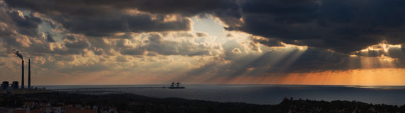 Sunset on Mediterranean sea. Panoramic picture of sunset on Mediterranean sea Stock Image