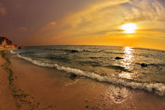 The sunset on Mediterranean sea Stock Images
