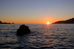 Sunset on the Mediterranean Sea Royalty Free Stock Images